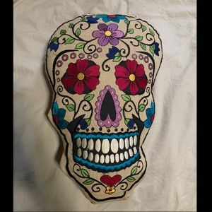 Other - Embroidered Mexican Sugar Skull Pillow